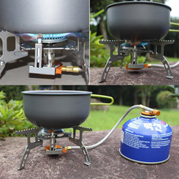 Wholesale Wholesale Welding Equipment - Wholesale- New foldable barbecue outdoor stove Mini ultralight Split Gas Stove camping BBQ cooking equipment