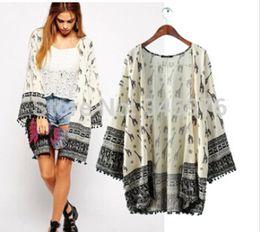 Wholesale Hem Design Coats - New 2015 Women Fashion Vintage Retro Print Cardigan Jacket ZA Brand Hem Cuff Tassel Patchwork Kimono Coat Outwear Jacket