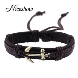 Wholesale Antique Brown - Black Brown Pu Leather Wristband with Antique Gold Silver Anchor Wrap Bracelets Bangle