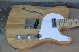 Wholesale Electric Guitar Hollow Body White - White Ash Body Custom Shop Jazz Guitar Natural Wood Color Telecaster Maple Fretboard 6 Strings Electric Guitar Chrome Hardware