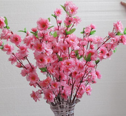 Wholesale Artificial Flower Bouquet Large - Natural Large Artificial Fabric Cherry Blossom Silk Flowers Wedding Bouquet Flowers Party Home Decorations 5 Color