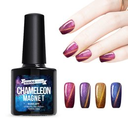 Wholesale Glitter Soak Off Gel Polish - Wholesale-Modelones 1Pcs 10ml UV Chameleon Gel Nail 3D Magnetic Cat Eye Soak Off UV Gel Polish Glitter Varnish 12 Color for choose