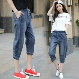 Wholesale Ladies Capri Trousers - Wholesale- 2017 summer blue vintage distressed jeans women high waisted pencil jeans ladies roll hem capri jeans cropped denim trousers