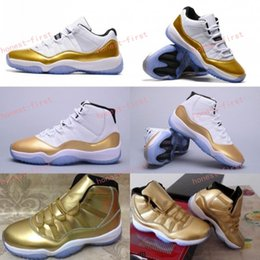 Wholesale Wrestling Shoes 13 - Retro 11 White Metallic Gold Olympic Closing Ceremony Men Women Low Basketball Shoes 11s Athletics Sneakers Top High Quality US 5.5-13