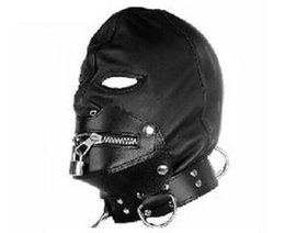 Wholesale Leather Adult Collars - 2018 New Zip Lock Mask Hood Soft Leather Lock Collar Halloween Sex Headgear Face Mask Adult Bdsm Sex Toy Bed Game Set