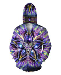 Wholesale Hoodies Men Double Sided - Cerebral Mokasha Double Sided Hoodies Psychedelic Colorful Geometric Shapes 3D Print Zipper Sweatshirts Jumper For Women Men