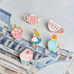 Wholesale Teapot Cup Sets - QIHE JEWELRY 14pcs set Alice in Wonderland Pin Brooch Palace Crown Teapot Cup Hat Enamel Badge Cute Girl Jewelry