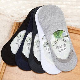 Wholesale Bamboo Fibre Men - Ocean Bluevin Fashion New Stealth Men Women Boat Sock Slippers Silicone Shallow Mouth Antiskid Bamboo Fibre Solid Pure 6 Colors Cotton Socks