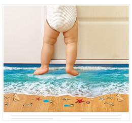 Wholesale Sea Poster Landscape - 6 Styles Creative 3D Wall Stickers Starfish Footprint Beach Bathroom Floor Sticker Sea Vinilos Paredes Kids Poster