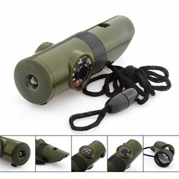 Wholesale Emergency Compass - New 6 In 1 Military Survival Whistle Multi-function Emergency Life Saving Tool Camping Hiking Accessory flashlight with Compass