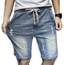 Wholesale Japan Fashion Jeans - Wholesale- Men's Harem Short Jeans Drawstring Waist Knee Length Holes Summer Shorts Denim Male Clothing Fashion 2017