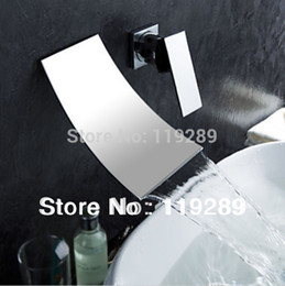 Wholesale Two Hole Bathroom Faucet - Wholesale- Polished Chrome Two Holes Bathroom Widespread Waterfall Faucet. Wall Mouunted Basin sink Mixer Tap KLT-304.