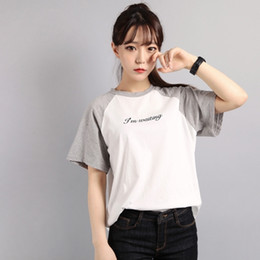 2019 modèle de chemise coréenne T-shirt femme été 2016 en tête des nouveaux modèles de base sauvages t-shirts chemise harajuku kawaii korean douce couleur raglan t-shirt modèle de chemise coréenne pas cher