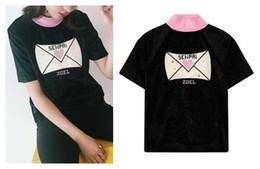 Wholesale Velvet Fashion Blouse - 2017 new women's cute fashion peach pink love heart love letter embroidery short sleeve stand collar velvet t-shirt blouse tops