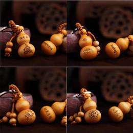 Wholesale Chinese Buddha Ring - Cute Mini Peach Wood Gourd Chinese Zodiac Good Luck Keychain Buddha Pendant Car Key Ring Chain Holder Ornaments