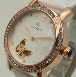 Relógio rosa borboleta em couro dourado on-line-Vendas Direto Da fábricaMechanical Relógios de Marca Vencedor da Mulher Relógio de Moda Automático À Prova D 'Água Pulseira De Couro Branco Rose Gold Butterfly Watch