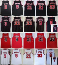 Wholesale Butler Jerseys - Men 21 Jimmy Butler Jersey 9 Rajon Rondo 3 Dwyane Wade 33 Scottie Pippen Basketball Jerseys Throwback 1992 USA Dream Team Red Black White