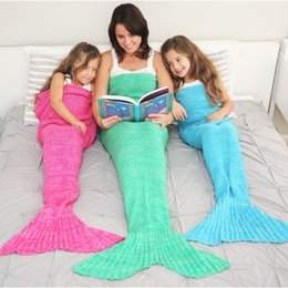 Wholesale Handmade Animal Crochet - Adult Knitted Mermaid Tail Blankets Crochet 180x90cm Handmade Sleeping Bag Sofa Nap Blankets Costume Cocoon Mattress DHL