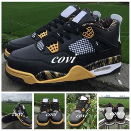 Wholesale Iv Training - 2017 Air Retro 4 IV Gold Medal Basketball Shoes for Mens Shoes Sneakers Retros 4s Royalty Black Gold Scratch Color Training Athletics