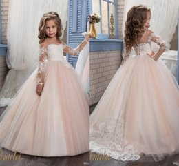 Wholesale Yellow Princess Dresses For Sale - Princess Ball Gown Flower Girl Dresses with Long Sleeves Sheer Jewel Neck Cheap Birthday Party Gowns For Little Girl 2017 Hot Sale