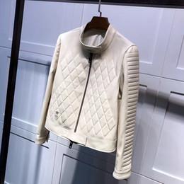 Wholesale Leather Collars Quality - high quality 2017 new autumn winter jacket women basic coat black white embroidery 100 real sheepskin genuine leather jacket bomber jacket