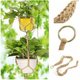 Wholesale Pot Hangers - Handmade Macrame Plant Hanger Pot Holder Polyester Rope Bright Garden Home Decoration 2 Tiers Flower Plant Display Mayitr