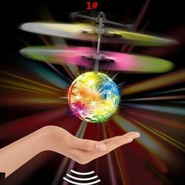 Wholesale Led Light Flying Toy - Children Flying Kemilove RC Flying Ball Drone Helicopter Ball Built-in Shinning LED Lighting Crack Planet for Kids Toy