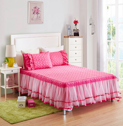 Wholesale Lace Cotton Twin Sheets - Wholesale-SunnyRain 3-Pieces Lacework Quited Bed Sheet Set Solid Color Bed Sheets With Elastic Bedding Set Queen Size King Bed Set sabanas