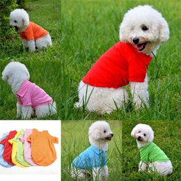 Wholesale Media Stocks - 100% cotton pet clothes soft breathable dog cat polo T-shirts pet apparel for spring summer fall 6 colors 5 sizes in stock
