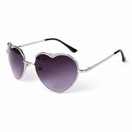 Wholesale Heart Shaped Lolita Sunglasses - Womens Sweet Love Heart Shaped Thin Metal Framed Sunglasses 55mm Lens Lolita Fashion Womens Glasses Eyewear