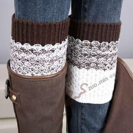 Wholesale Jacquard Knitted Legging - Wholesale- 2015 new Women Leg Warmer Girls knitting boots socks Jacquard warm Block color leg cover 10 pair lot
