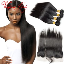 Wholesale Unprocessed Grade Virgin Hair - Straight Hair Malaysian 4 Bundles With Unprocessed Lace Frontal Grade 7a Virgin Hair Bundle Deals Natural Black Remy Human Hair Weft