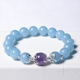 Wholesale Female Model Hands - Natural Crystal Sea Blue Treasure Female Models Lap Bracelet Dream Crystal Day and Night Hand String
