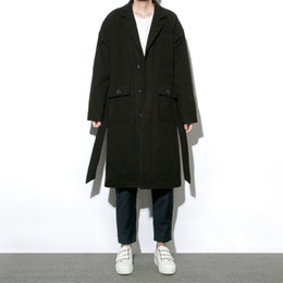 Wholesale Winter Coats Japan - Wholesale- Men new trench jacket black long winter outwear fashion casual loose woolen trench coat men's leisure thicken wool jacket C190