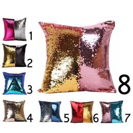 2019 cuscino cambia colore Fodera per cuscino singolo sirena con paillettes laterali Cuscino per fodere in glitter lucido per cuscini cuscino cambia colore economici
