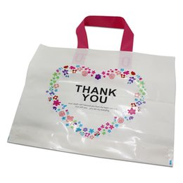 Wholesale Carrier Bags Wholesale - DHL 200pcs White Plastic Shopping Bag with Handle Carrier THANK YOU Heart Flowe Print Boutique Packaging Wholesale