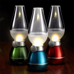 Wholesale Novelty Candle Light - LED Retro Lamp Lamps Novelty Lighting USB Rechargeable Blowing Kerosene Adjustable Blow On-Off Night Light Home Decroration Night Light