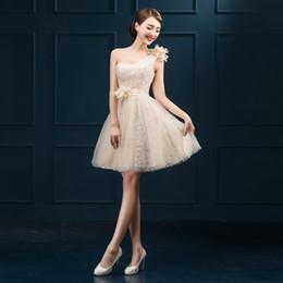 Vente chaude robes de soirée élégante une épaule robe de mariée princesse courte 2017 nouvelle balle bal parti fête / remise des diplômes formelle robe ? partir de fabricateur