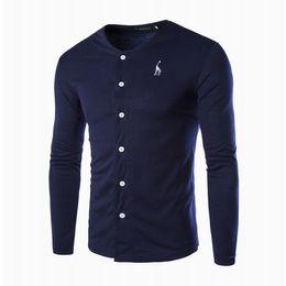 Wholesale Black Giraffe - New Men's Slim Round Neck Long Sleeve Cardigan T-shirt Giraffe Embroidered Long Sleeve Men Knitted Shirt