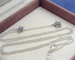 Wholesale Sterling Silver Necklace For Beads - High-quality 925 Sterling Silver Dazzling Daisies with Clear CZ Necklace for European Pandora Style Charms and Beads Pendants