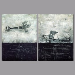 Wholesale Canvas Painting Aircraft - 2 Pcs Set No Framed Retro Graffiti Aircraft Decoration Old Black Wall Art Pictures Canvas Paintings For Living Room Home Decor