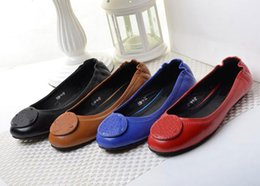 Wholesale Eu Dresses - New Arrival Casual Dance Ballet Flats Genuine Leather Women Flat Shoes EU Sz 35-41