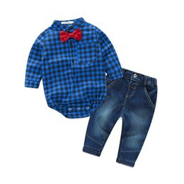 Wholesale Red Striped Baby Shirt - Spring Baby Boy Clothes Red Plaid Romper Shirt +Jeans 2 pcs Boys Set Boys Clothing Children Bebe Clothing Set Kids Outfits