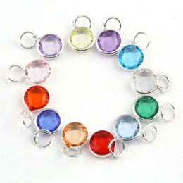 Wholesale Glass Pendants Birthstone - 120pcs lot 12 Colors Assorted 12mm Birthstone Charm Pendant For Glass Locket&Bracelets Accessories wholesale birthstone charm pendant