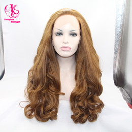 Wholesale Nice Lace Front Wigs - Nice look! Top Quality Body Wave Wigs Synthetic Lace Front Wigs light brown Color glueless hair Heat Resistant Hair Wigs