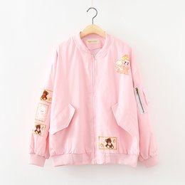 Wholesale Doll Patch - Wholesale- 2016 Autumn Women's Cartoon Patch Designs Jacket Japanese Harajuku Bear Doll Print Basic Girl Baseball Fresh Soft Sister Hoodie
