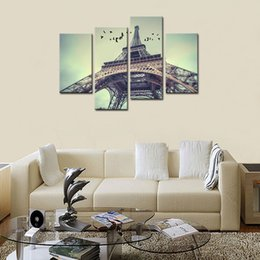 Wholesale 4 Panels Eiffel Tower City View Canvas Paintings Giclee Artwork Wall Art for Home Modern Decor with Wooden Framed Ready to Hang