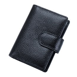 Wholesale Business Card Holder Promotional - hot sale fashion 18 slots quality business promotional gift id card wallet case RFID Anti magnetic cowhide leather id card holder