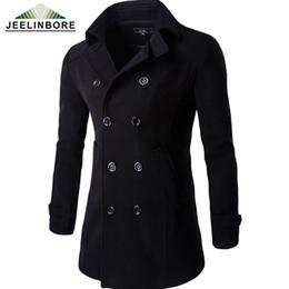 Wholesale Mens Slim Fit Pea Coats - Wholesale- New Casual Double Breasted Coat Men British Style Warm Slim Fit Long Trench Coat Men Mens Wool Outwear Pea Coat Manteau Homme