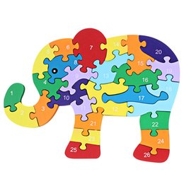 Wholesale Kids Brain Games Toy - Wholesale- Children Brain Game Kids Winding Animal Wooden Elephant Toys Kids 3D Puzzle Wood Brinquedo Madeira Jjigsaw Puzzles